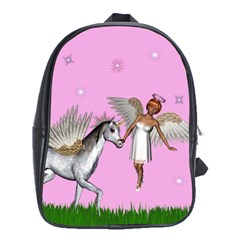 Unicorn And Fairy In A Grass Field And Sparkles School Bag (Large)