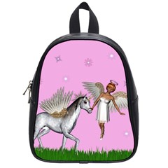 Unicorn And Fairy In A Grass Field And Sparkles School Bag (small)