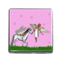 Unicorn And Fairy In A Grass Field And Sparkles Memory Card Reader With Storage (square)