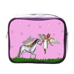 Unicorn And Fairy In A Grass Field And Sparkles Mini Travel Toiletry Bag (One Side)