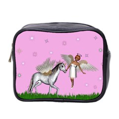Unicorn And Fairy In A Grass Field And Sparkles Mini Travel Toiletry Bag (Two Sides)