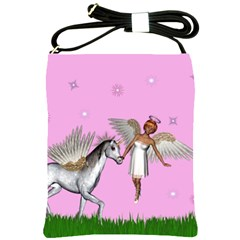 Fairy In A Grass Field And Sparkles Shoulder Sling Bag
