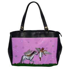 Unicorn And Fairy In A Grass Field And Sparkles Oversize Office Handbag (one Side)