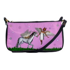 Unicorn And Fairy In A Grass Field And Sparkles Evening Bag