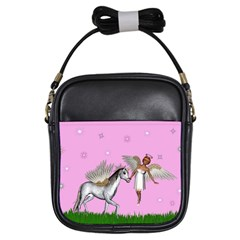 Unicorn And Fairy In A Grass Field And Sparkles Girl s Sling Bag