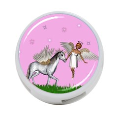 Unicorn And Fairy In A Grass Field And Sparkles 4-Port USB Hub (One Side)