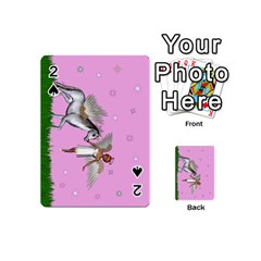 Unicorn And Fairy In A Grass Field And Sparkles Playing Cards 54 Designs (mini)