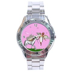 Unicorn And Fairy In A Grass Field And Sparkles Stainless Steel Watch