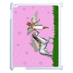 Unicorn And Fairy In A Grass Field And Sparkles Apple iPad 2 Case (White)