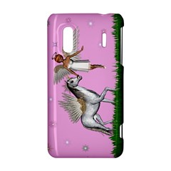 Unicorn And Fairy In A Grass Field And Sparkles HTC Evo Design 4G/ Hero S Hardshell Case