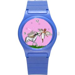 Unicorn And Fairy In A Grass Field And Sparkles Plastic Sport Watch (small)
