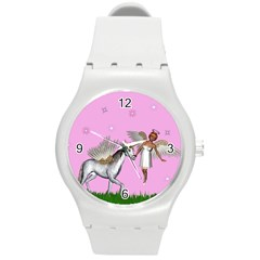 Unicorn And Fairy In A Grass Field And Sparkles Plastic Sport Watch (medium)