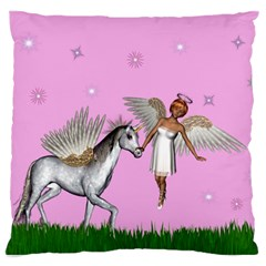 Unicorn And Fairy In A Grass Field And Sparkles Large Cushion Case (single Sided)