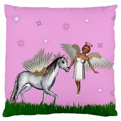Unicorn And Fairy In A Grass Field And Sparkles Large Cushion Case (Two Sided)