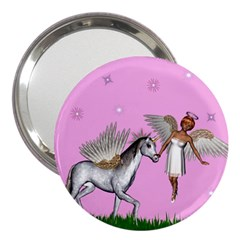 Unicorn And Fairy In A Grass Field And Sparkles 3  Handbag Mirror
