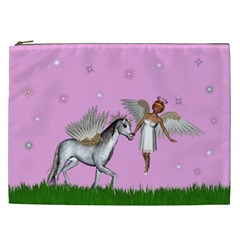 Unicorn And Fairy In A Grass Field And Sparkles Cosmetic Bag (xxl)