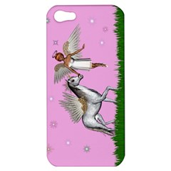 Unicorn And Fairy In A Grass Field And Sparkles Apple Iphone 5 Hardshell Case