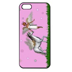 with a Unicorn And Fairy In A Grass Field And Sparkles Apple iPhone 5 Seamless Case (Black)