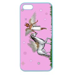Unicorn And Fairy In A Grass Field And Sparkles Apple Seamless iPhone 5 Case (Color)