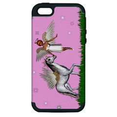 Unicorn And Fairy In A Grass Field And Sparkles Apple iPhone 5 Hardshell Case (PC+Silicone)