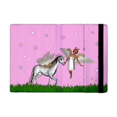Unicorn And Fairy In A Grass Field And Sparkles Apple Ipad Mini Flip Case