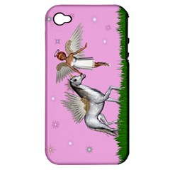 with a Unicorn And Fairy In A Grass Field And Sparkles Apple iPhone 4/4S Hardshell Case (PC+Silicone)