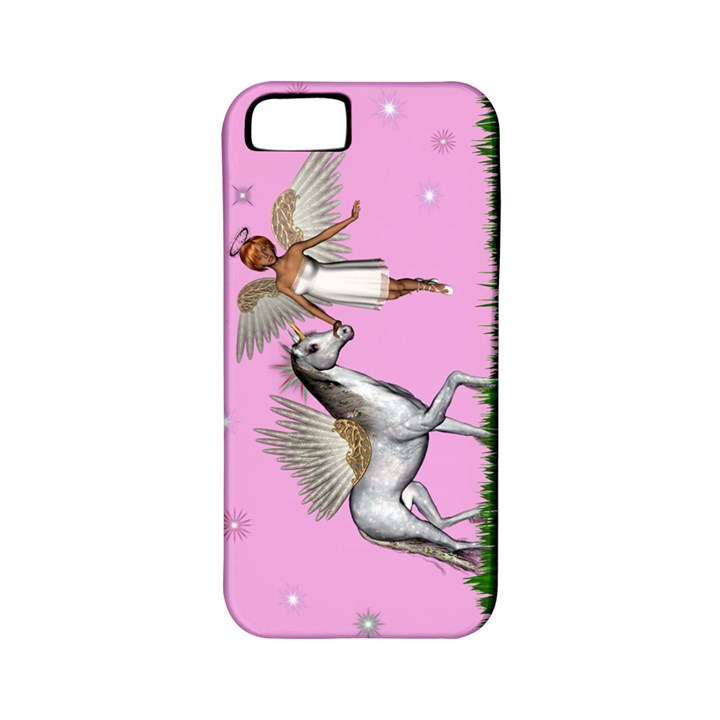 Unicorn And Fairy In A Grass Field And Sparkles Apple iPhone 5 Classic Hardshell Case (PC+Silicone)