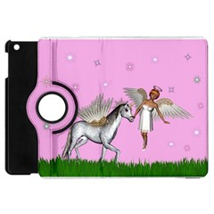Unicorn And Fairy In A Grass Field And Sparkles Apple iPad Mini Flip 360 Case