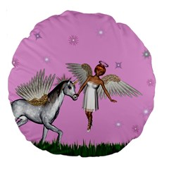 Unicorn And Fairy In A Grass Field And Sparkles 18  Premium Round Cushion