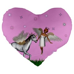 Unicorn And Fairy In A Grass Field And Sparkles 19  Premium Heart Shape Cushion