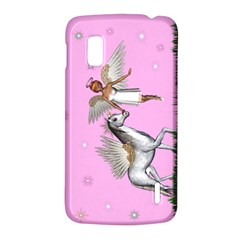 with a Unicorn And Fairy In A Grass Field And Sparkles Google Nexus 4 (LG E960) Hardshell Case