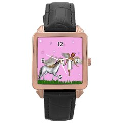 Unicorn And Fairy In A Grass Field And Sparkles Rose Gold Leather Watch