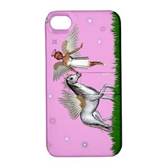 Unicorn And Fairy In A Grass Field And Sparkles Apple Iphone 4/4s Hardshell Case With Stand