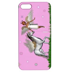 Unicorn And Fairy In A Grass Field And Sparkles Apple Iphone 5 Hardshell Case With Stand