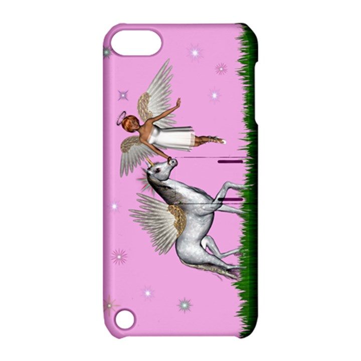 with a Unicorn And Fairy In A Grass Field And Sparkles Apple iPod Touch 5 Hardshell Case with Stand