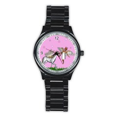 Unicorn And Fairy In A Grass Field And Sparkles Sport Metal Watch (Black)