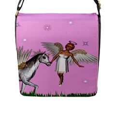 Unicorn And Fairy In A Grass Field And Sparkles Flap Closure Messenger Bag (large)