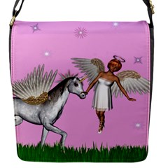 Unicorn And Fairy In A Grass Field And Sparkles Flap Closure Messenger Bag (Small)
