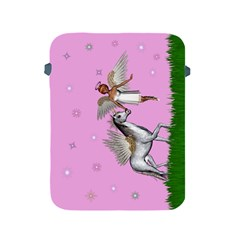 Unicorn And Fairy In A Grass Field And Sparkles Apple Ipad Protective Sleeve