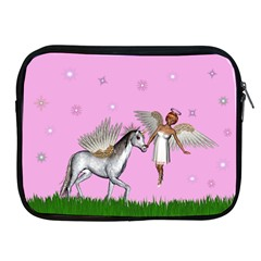 Unicorn And Fairy In A Grass Field And Sparkles Apple Ipad Zippered Sleeve