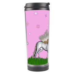 Unicorn And Fairy In A Grass Field And Sparkles Travel Tumbler