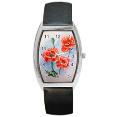 Poppies Tonneau Leather Watch