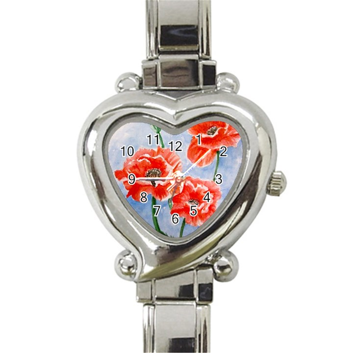 Poppies Heart Italian Charm Watch