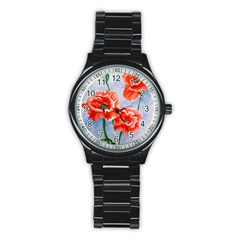 Poppies Sport Metal Watch (Black)