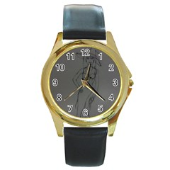 Witchy Round Leather Watch (Gold Rim)