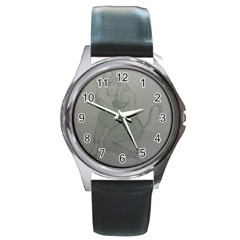 Smoke Break Satyr Round Leather Watch (Silver Rim)