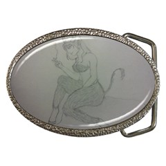 Smoke Break Satyr Belt Buckle (Oval)