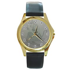 Smoke Break Satyr Round Leather Watch (Gold Rim)