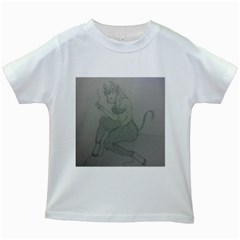 Smoke Break Satyr Kids T Shirt (white)