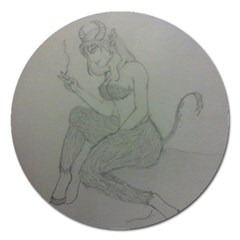 Smoke Break Satyr Magnet 5  (Round)